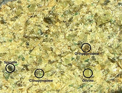 Minéraux péridotite (loupe)