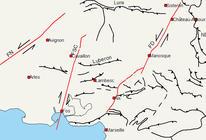 Carte tectonique de la région PACA